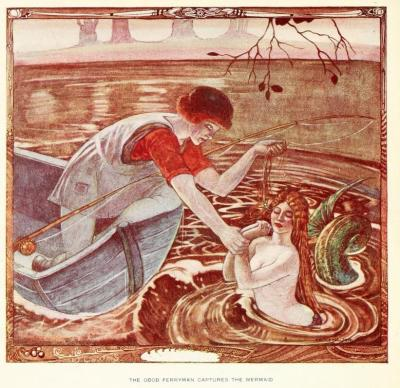 Polish fairy tales (1920)Illustrations by Cecile WaltonThe Good Ferryman captures the mermaid