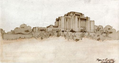 Hyrum Pope and Harold Burton, Alberta Temple, Cardston, Alberta, 1912-1923 architectural rendering