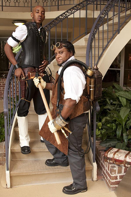 bestofcosplay:  Steampunkers  a boned black leather vest. VERY DAPPER, SIR….uunf <3