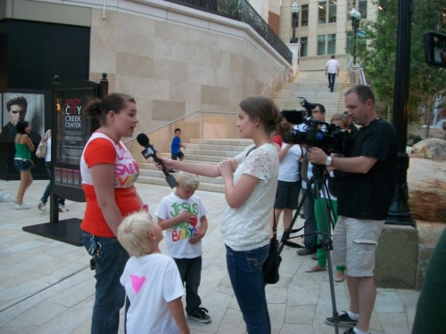 One of our straight allies talking to ABC news, Channel 4 in Salt Lake City after our kiss-in at the hate-filled City Creek Chick-fil-A - which is on Mormon property!