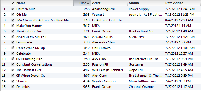"I made a new playlist today called ""Late Summer Playlist"". As Summer winds down, I collected a few songs that I am REALLY into right now. It's great, because music is a huge passion of mine, and all of these songs have a common theme. In the same way that Summer nights end in a sea of fireflies and fireworks, these songs all have a noire-esque quality. I just imagine listening to all of them in a twilight haze. It's absolutely awesome to think about, and whether it's the calming melody from Wynter Gordon - Stimela, the European rave beats of Ma Cherie, or Frank Ocean's trance-like  Pyramids, each of these songs really represents how my Summer is coming to an end.  If you're interested in any of em, just message me and I'll give you a youtube link, or I'll post em on here!"