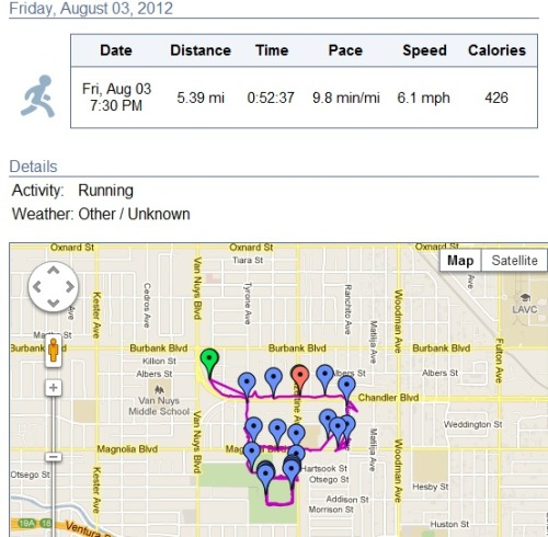 The app cut me off 2 big blocks away from home! I think I went 5.8 miles in 58 minutes. I felt great too! I had so much energy and was able to sprint at the very end and a few times in the middle which I normally struggle to do. I'm getting my stamina back and I'm going to win this next Friday!!!