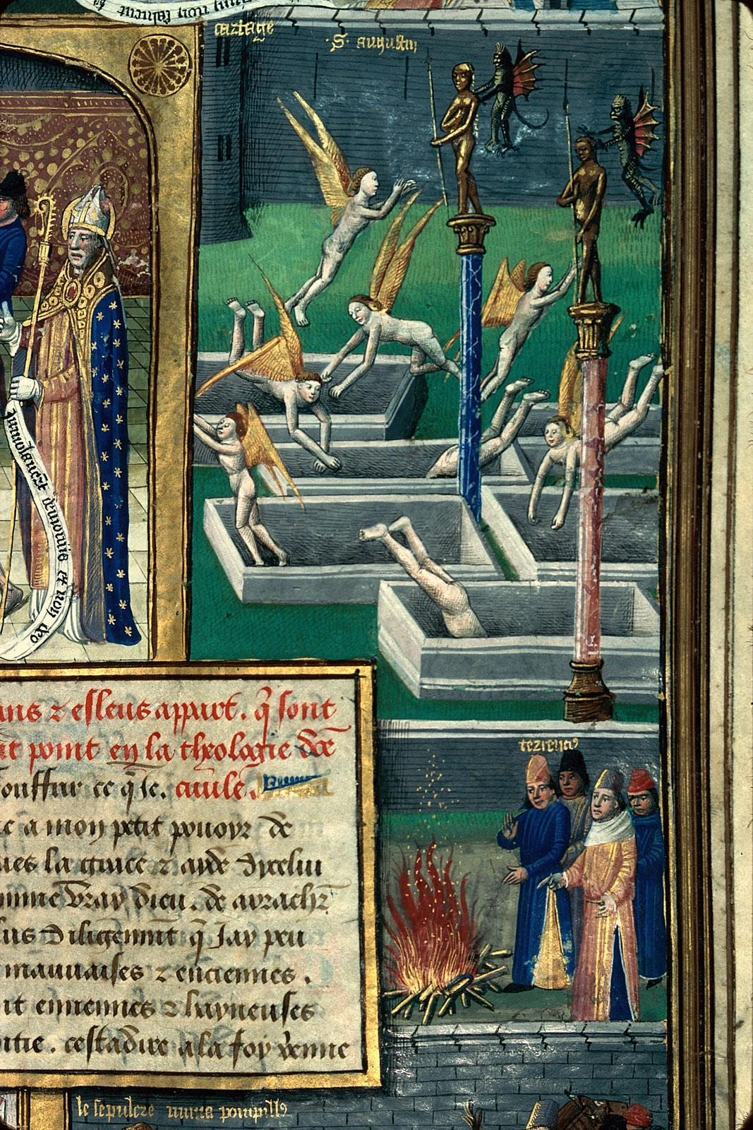 demonagerie:  Mâcon - BM - ms. 0001, detail of f. 231. St. Augustine, La Cité de Dieu. Paris, c.1480.