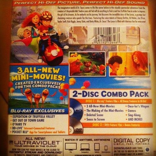 #TheLorax #Bluray Special Features (Taken with Instagram)