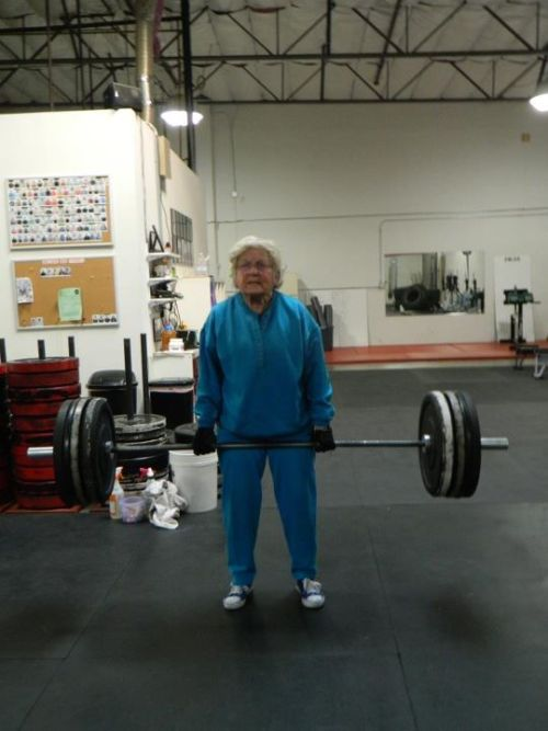 This is Jean.  She is 82 years old.  She can dead lift 153 pounds.