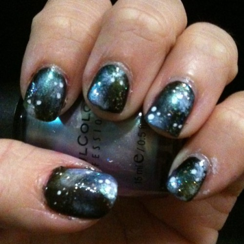 Galaxy nails! #nails #nailart #nailswag #galaxy #galaxynails #notd #swirls #glitter #nebula (Taken with Instagram)