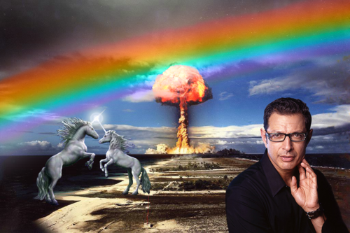 face-down-asgard-up:  bonanzajellybean:  kingofbizzare:  I decided to make a picture combining the four most awesome things, unicorns, rainbows, explosions, and Jeff Goldblum.  this is what the inside of my head looks like  heaven
