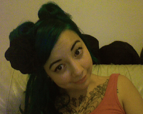 Mermaid whirlpools AKA teal green hair victory rolls.