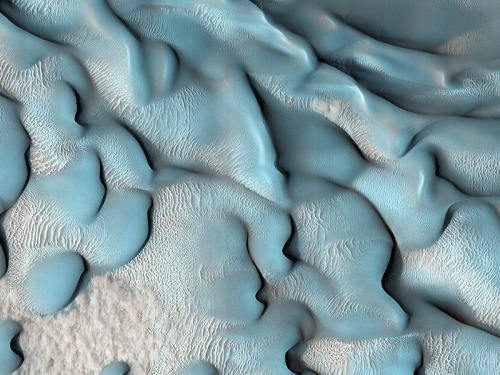 Dunes on the Move  HiRISE has been carrying out a dedicated survey of sand dunes on Mars, determining whether and how fast the dunes move by observing repeatedly at intervals of Martian years. More than 60 sites have been monitored so far, showing that sand dunes from the equator to the poles are advancing at rates of up to 1 meter per Martian year.