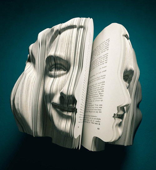 """'Written portraits' is a series of books which shows the different faces, literally, behind the selected autobiographies of anne frank, vincent van gogh, louis van gaal and kader abdolah. the campaign, created by dutch agency van wanten etctera, was conceived by markus ravenhorst and maarten reynen as part of dutch book week under the theme of (auto) biography. the artwork was executed by souverein whereby, each book was created to stand as a realistic 3D portrait of its author. the structure of the original book's pages were used for the text within the portraits in order to achieve the right configuration for each."""