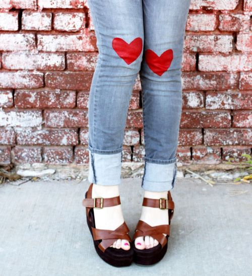 cutiemonster:  Heart jeans DIY : a beautiful mess.