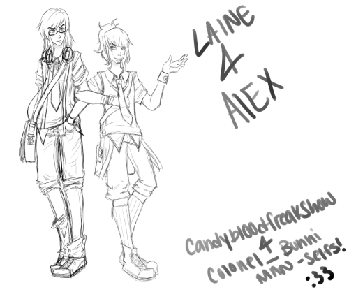 A picture that CandyBlood and I collaborated on of our man-selves, Laine and Alexander, in male school uniforms. It is currently unfinished but we plan to add the final line art and colors later~ :33