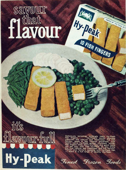 vivatvintage:  Savour the flavour of fish fingers, 1962  What?  No custard?