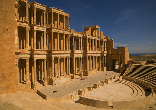 Theatre in ancient Roman city Sabratha, Libya by Eric Lafforgue on Flickr.
