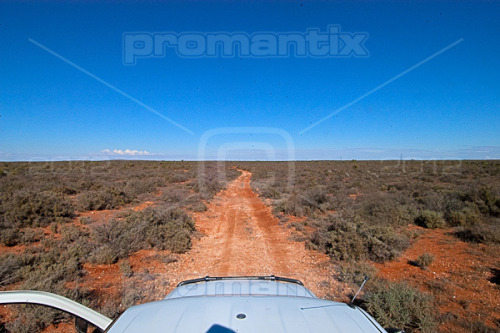 Into the Outback. Heading into the New South Wales Outback west of Broken Hill, a harsh and inhospitable environment  Hot, dry and covered in salt bush, hardly any wildlife can be seen out here.