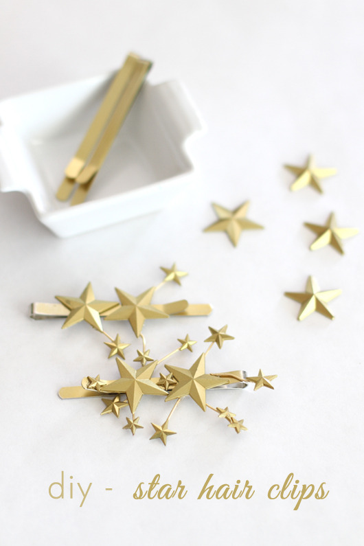 Star Hair Clips | For The Love Of I get lots of requests for short hair tutorials but honestly they are few and far between! But there are always lots of cute clip DIYs and I thought y'all would like this one! How sweet are they? And pretty on any hair length.
