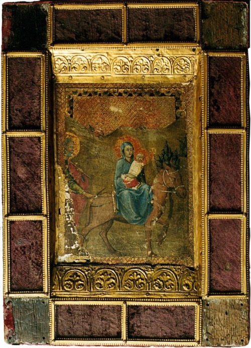 forbiddenalleys:  Bible: Psalms, with Petrus Lombardus: The Great Gloss. Paris, c. 1200. Romanesque Mosan of the workshop of Nicholas of Verdun, with 15th c. painting by the Master of the Osservanza, deriving loosely from Fra Angelico