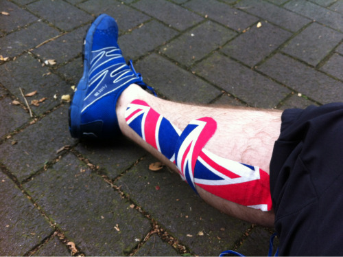 Supporting Team GB! Love the tape Andrew used on my calf after the massage yesterday.