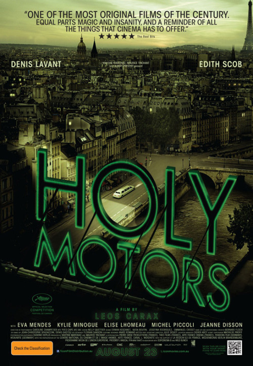 movieposteroftheday:  Australian poster for HOLY MOTORS (Leos Carax, France, 2012) [see also] Designer: uncredited Poster source: IMPAwards  I guess the sign reads backwards as you face the building, though.
