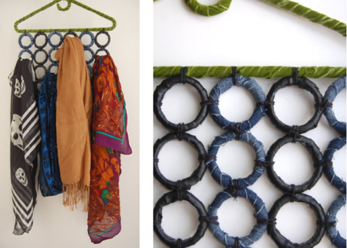 DIY Cheap and Easy Scarf Holder from Studs and Pearls here. Love this clever idea of using shower curtain rings to make this.