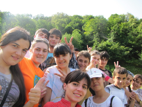 Azerbaijani teachers and students from clubs and camps. This was taken near Perigala, a castle built into the side of a mountain in Zaqatala, Azerbaijan
