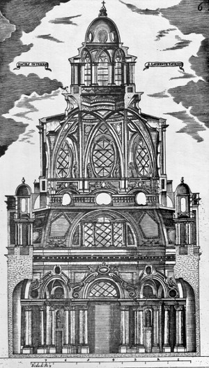 Guarino Guarini, Sectional view of San Lorenzo in Turin (1666)