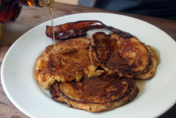 Buttermilk cornmeal pancakes with maple syrup and bacon recipe