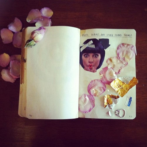 #wreckthisjournal #wreckthisbox #kerismith #leaves #found #object to see my all my wrecked pages go to the hash tag #norawithletters  (Taken with Instagram)