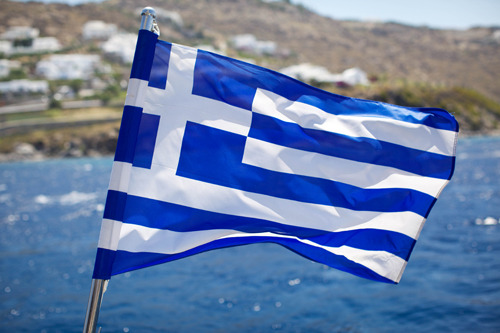 Greece's flag is beautiful.