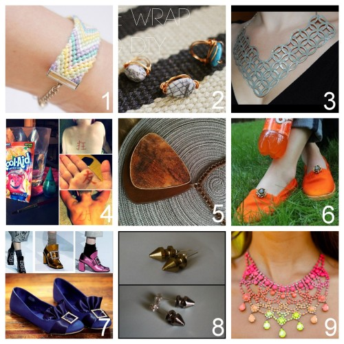 Roundup Nine DIY Jewelry, Accessories and Fashion Tutorials PART TWO. Roundup of this past week. July 29th - August 4th, 2012. *For past roundups go here: trebluemeandyou.tumblr.com/tagged/roundup DIY Ribbon Crimp Ends for Friendship Bracelets from into mind here. DIY Easy Wire Wrapped Ring Tutorial from Sincerely, Kinsey here. DIY Home Depot Metal Grate Jewelry Inspiration from Pinafores & Pinwheels here.  DIY Kool Aid and Food Coloring One Week Temporary Tattoo here. Maybe works maybe doesn't - it's from Pinterest (the new urban legend site). DIY Inspiration and Tutorial from inspiration & realisation here. *Photo and Donna Karan knockoff DIY from Impromp-two. DIY Basic  Rit Dye Tutorial from Rookie Mag here. DIY Puritan Buckle Ballerina Flats Tutorial from Trinkets in Bloom here. Top Photo:  Marc Jacobs here, Bottom Photo: DIY by Trinkets in Bloom. DIY Easy Stud and Spike Earrings from Swellmayde here.  DIY Nail Polish Painted Rhinestone Necklace from Crimenes de la Moda here.