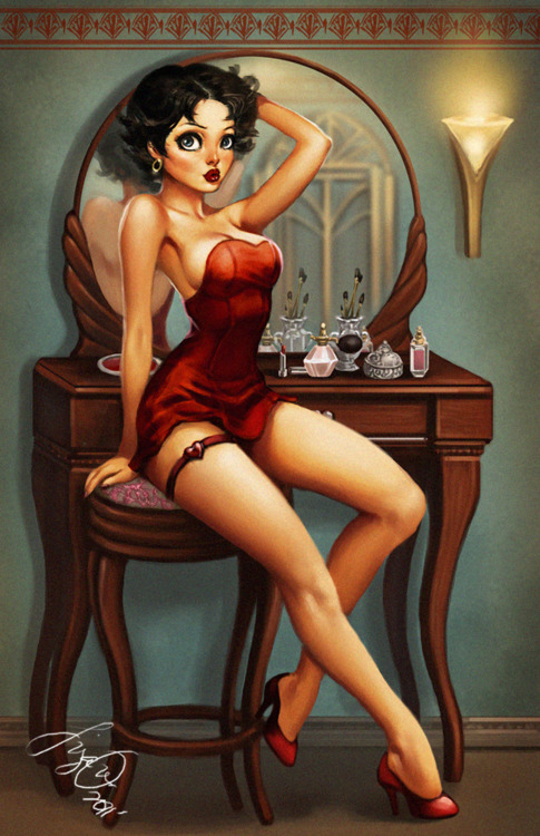nubiasnonsense:  A modern Betty Boop? I could picture @VintageVandal doing this ;-)  Betty Boop and Marilyn Monroe are automatic reblogs for me.