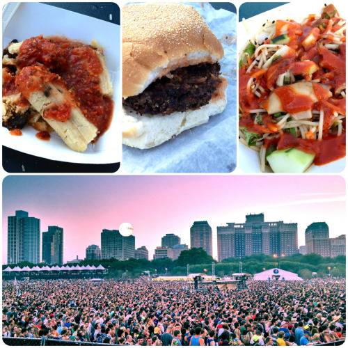 vegan at lollapalooza! the options are a bit limited in the main chow town areas, but if you head to the farmers market section you can find some great stuff. on day one we ate portabella tamales and a vegan burger from river valley farms and some cold soy noodles from rock n roll noodle company. plus there was free unlimited sriracha. ROCK!