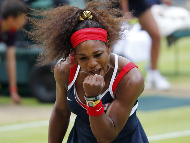 "Serena Williams won her first Olympic tennis women's singles gold on Saturday with a 6-0 6-1 demolition of Russia's Maria Sharapova on Wimbledon's Centre Court. REUTERS/Mike Blake  Serena Williams dismantles Maria Sharapova to win Olympic gold Serena Williams won her first Olympic tennis women's singles gold on Saturday with a 6-0 6-1 demolition of Russia's Maria Sharapova on Wimbledon's Centre Court. The unstoppable American, who dropped just 16 games in her five singles matches en route to the final, has now completed the ""golden slam"" – winning all four majors as well as an Olympic singles gold."