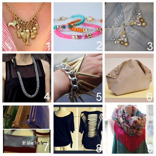 Roundup Nine DIY Jewelry, Accessories and Fashion Tutorials PART FOUR. Roundup of this past week. July 29th - August 4th, 2012. *For past roundups go here: trebluemeandyou.tumblr.com/tagged/roundup DIY Milagros Necklace Tutorial from V Juliet here. DIY Easy Glass Bead Bracelets Tutorial from Delighted Momma here. This is the perfect tutorial for a beginner because it clearly demonstrates how to use a crimp beads, jump rings, and how to attach a clasp. DIY Embellished Collar Tutorial from Honestly…WTF here. DIY Heavy Chain and Belt Necklace Tutorial from Trinkets in Bloom here. DIY Spike Bracelet from stripes + sequins here. DIY Alexander McQueen Inspired De Manta Clutch Tutorial by A Matter of Style for style.it here. DIY Celine Trio Purse Tutorial from Taylor & Demolish here. Top Photo: Celine Trio Purses with lots of photos and colors here, Bottom Photo: DIY by Taylor & Demolish.  DIY No Sew Cut Out Ladder Tee Shirt from Wobisobi here. DIY No Sew Fringe Scarf or Beach Cover Up from I spy DIY here.
