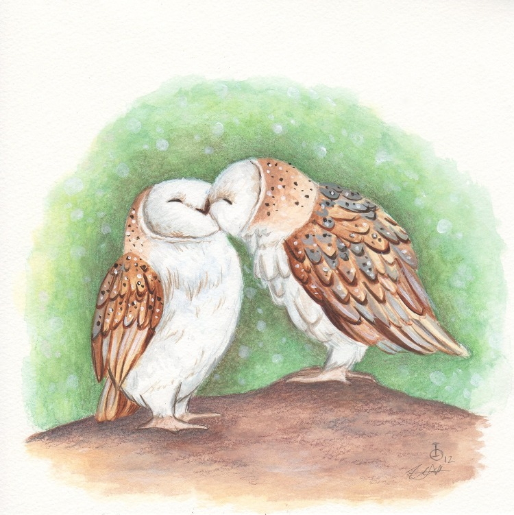 can-s-passion:  Kissing Owls by ~IreneShpak