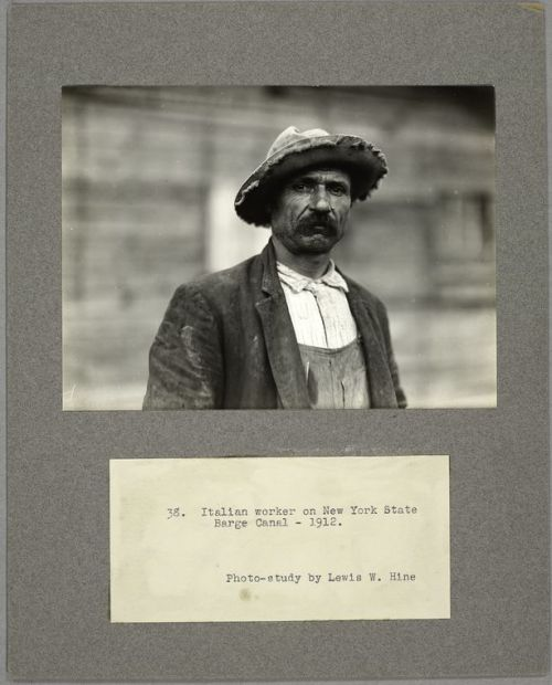 "For this week's Mustache Monday, we're featuring the work of social documentary photographer Lewis W. Hine, who spent much of his career covering the life and work of immigrants to the United States. The NYPL holds a large collection of his prints, many of which have been digitized. Above is a photo study of ""Italian worker on New York State Barge Canal, 1912""."