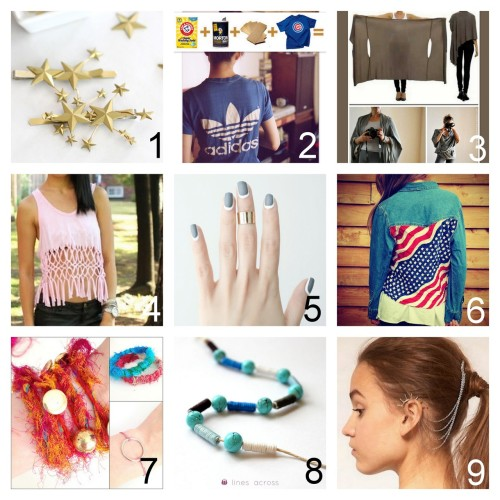 Roundup Nine DIY Jewelry, Accessories and Fashion Tutorials PART FIVE. Roundup of this past week. July 29th - August 4th, 2012. *For past roundups go here: trebluemeandyou.tumblr.com/tagged/roundup DIY Cluster of Starts Hair Clip Tutorial from for the love of… here. DIY New to Vintage Tee Shirt Tutorial from Men's Health here. Top Photo: Men's Health, Bottom Photo: Happenstance here. DIY Two Tutorials for the Bina Brianca Wrap here. Top Photo: Bina Brianca Wrap here, Bottom Photos: DIY Bina Brianca Wrap Tutorial by Organized Living Solutions. Not pictured original tutorial for the wrap at The Craft Guild here.   DIY Macrame Fringe Tank Top Restyle Tutorial by Syl and Sam on Chictopia here. DIY Outlined Nails the Easier Way from Love Aesthetics here. DIY Bandanna Back Denim Shirt Tutorial from Trash to Couture here. DIY Three Easy Bracelet Tutorials from Heart Handmade UK here. DIY Paper and Embroidery Floss Beads Tutorial from Lines Across My Face here. DIY Chained Ear Cuff Headpiece from Taylor & Demolish here. Photo: ASOS Spike Ear Cuff and Comb (sold out) here.