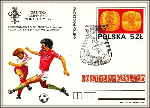 Polish postcard celebrating the Polish medal haul from the 1972 Munich Olympic games. Features a postmark commemorating the Polish National Spartakiad of 1985: Olympic Visions: Images of the Games Through History
