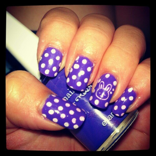 NOTD : Purple Polka Dots Bunny #nail #konad #stamping #manicure #polka #dots #bunny #purple #cute #stamping #nailart #white  (Taken with Instagram)