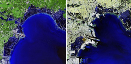 Delta development in Binhai, China 1992 - 2012. Note the new port at the river influence.
