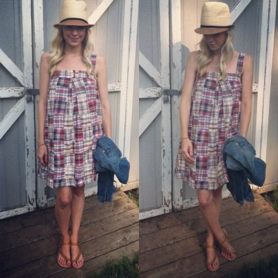 Last night's madras dress for cheering on Mr. M's brother at the races.