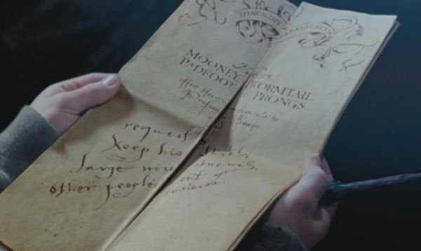 The Marauder's Map from the Harry Potter series