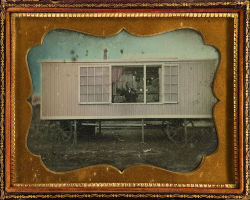 "tuesday-johnson:  ca. 1855, [daguerreotype of the wagon studio of traveling photographer William Harding with the subject seated inside], James A. Boyd   Inscribed in pencil, ""Taken By James A. Boyd at White Pigeon June the 6 1855, James A. Boyd Artist, Artist Wm Hardings Car, Price $6.00"".  via Heritage Auctions"