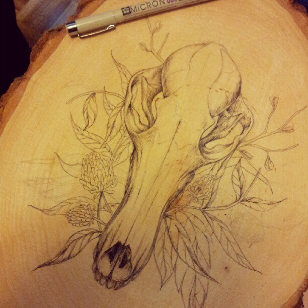 Inking a new addition to the skull series. (Taken with Instagram)