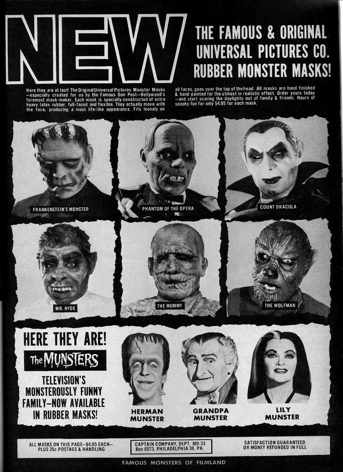 cryptofwrestling:  Great mask ad from Famous Monsters Of Filmland #33
