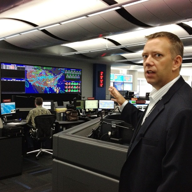 United's Jim DeYoung shows off his airline's new operations center. (Taken with Instagram)