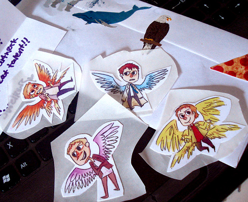 swellows made stickers form my wing doodles and sent me some! THANK YOU SO MUCH, STICKERS EXCITE ME