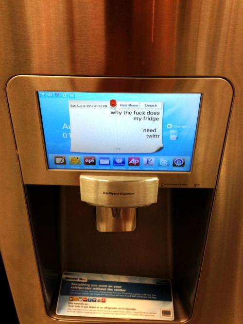 the-absolute-funniest-posts:  Found this while looking for fridges at Sears.   Follow this blog, it'll make your dash light up with unicorns and freakin' magic