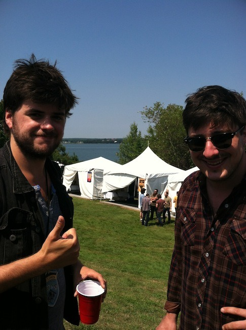 Winston Marshall and Marcus Mumford of Mumford & Sons enjoying the Gentlemen of the Road Stopover in Portland, Maine on August 4, 2012. Photo courtesy of The Portland Press Herald.