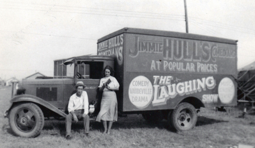 Jimmie Hull's Comedians- At Popular PricesThe Laughing Show- Comedy, Vaudeville, Drama (Sign Painting on the side of a truck)